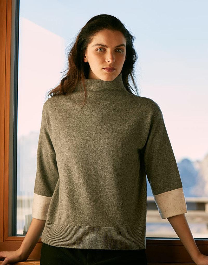 Anne Clare | Pullover Grün/Weiß