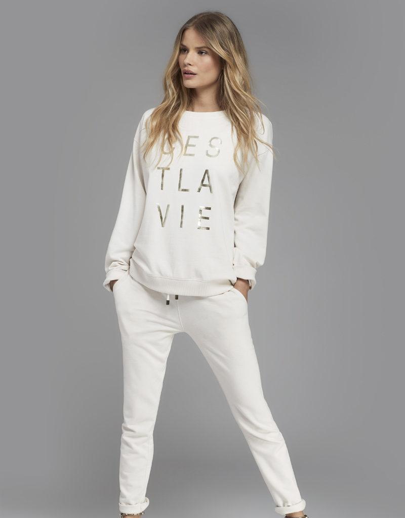 Juvia   Sweater (Weiß mit Print) und Jogginghose